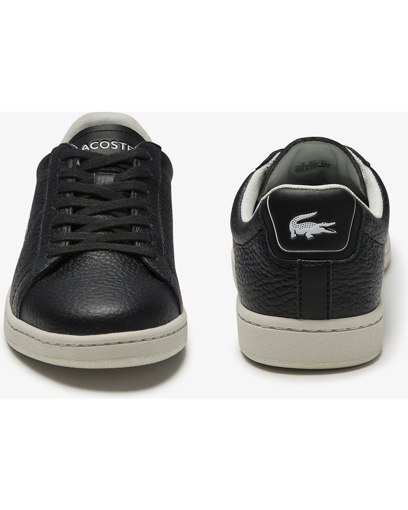 Front and rear view of Lacoste carnaby evo tumble leather black sneaker with green alligator