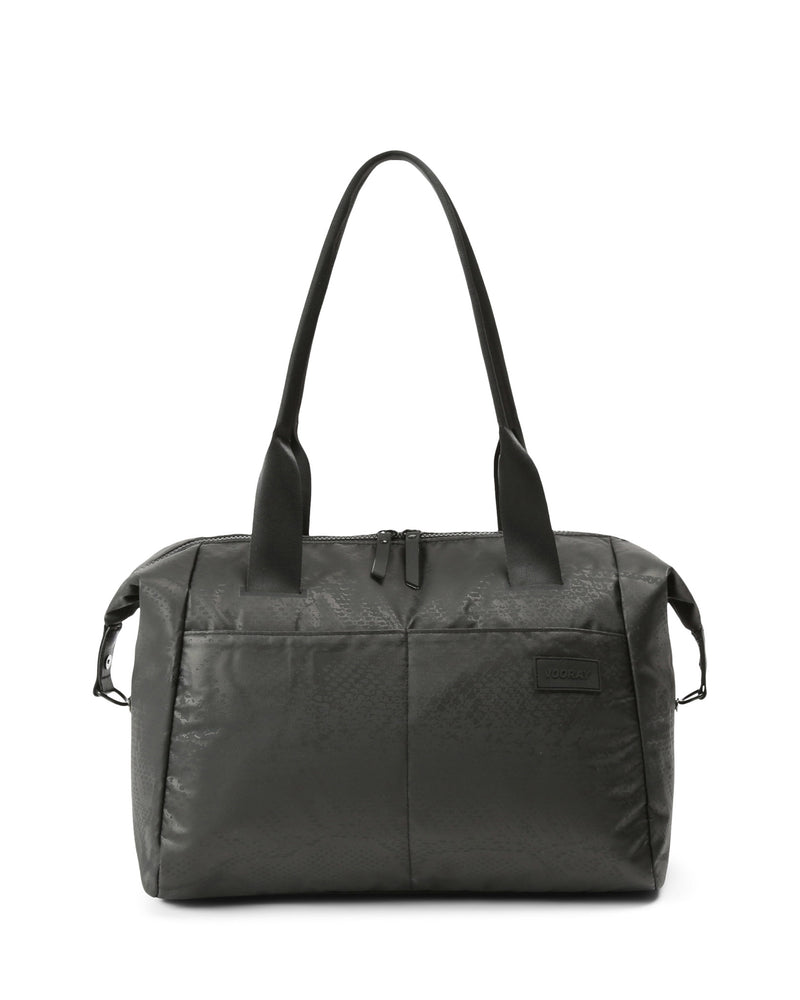 Front view of black snakeskin alana duffle bag