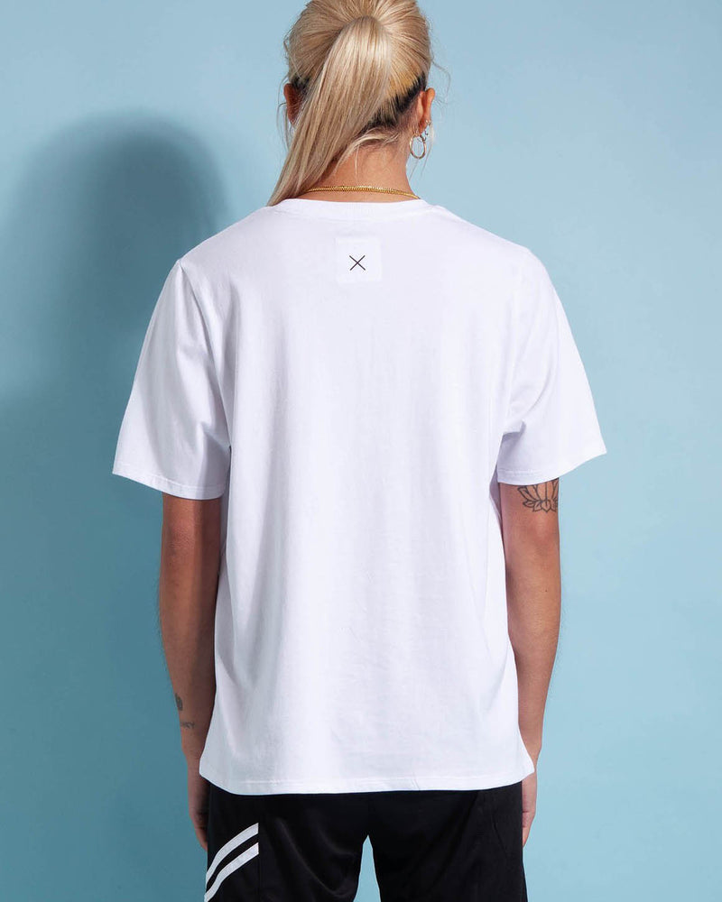 Rear View of Model Wearing First Base Classic Surf Tee