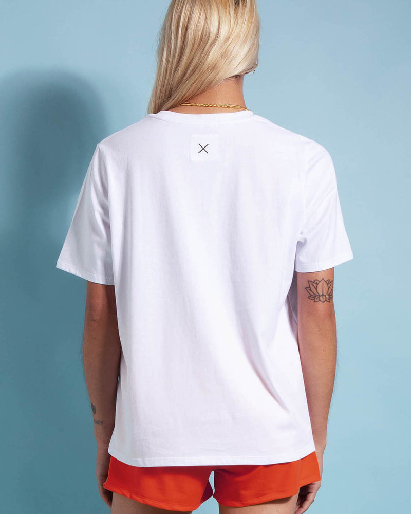 Rear View of Model Wearing First Base Company Tee