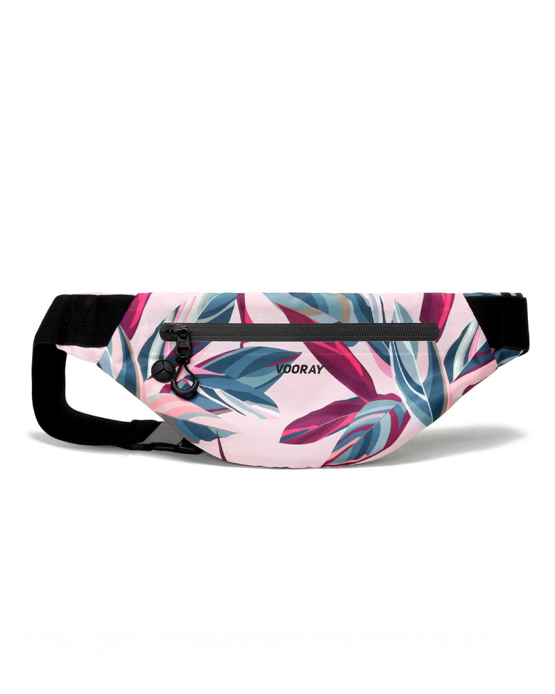 Front view of botanical pink active fanny pack
