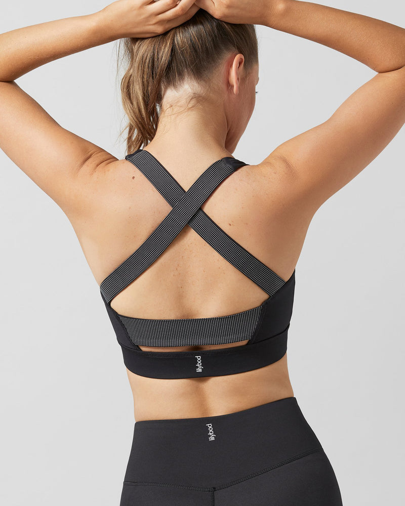 Back view of crossover straps of Lilybod Cindy Crop in Mono Racer Black