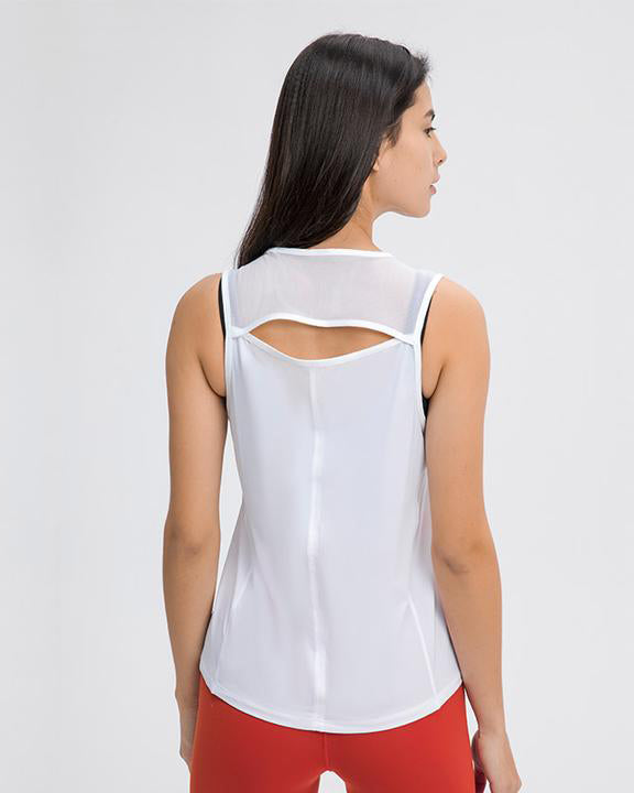 Rear View of Model Wearing Motion Tank White