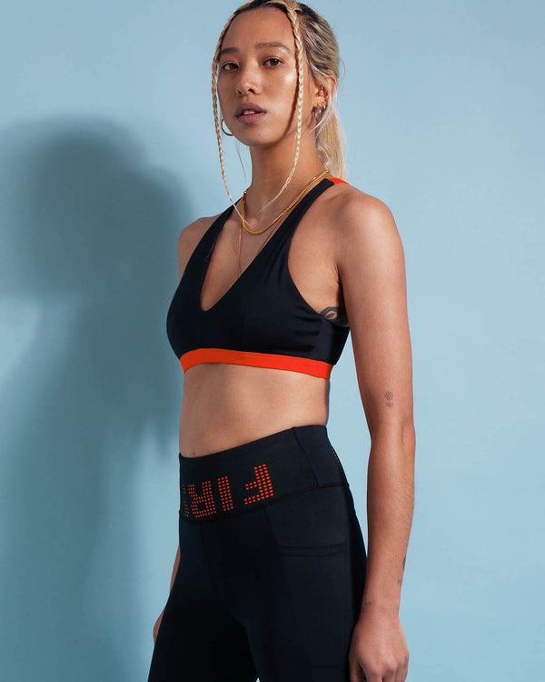 Side View of Model Wearing Player Crop Top