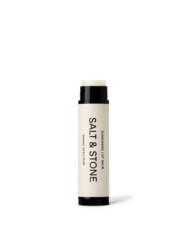 Front view of SPF 30 lip balm with lid off