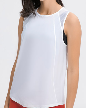 Front View of Model Wearing Motion Tank White