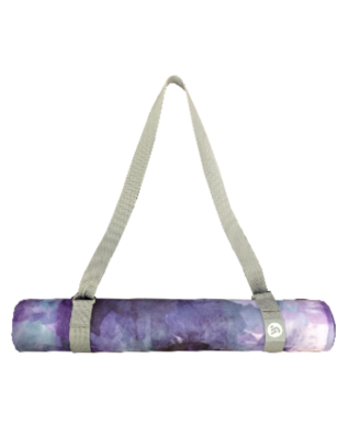 Yellow willow yoga carry and stretching strap shown with mat