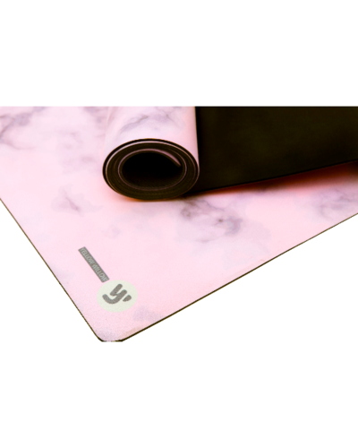 End of blush marble yoga mat