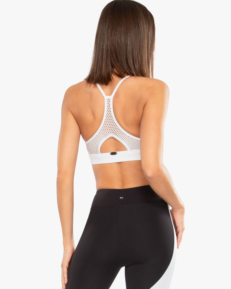 Rear View of Model Wearing Slate Blackout Sports Bra