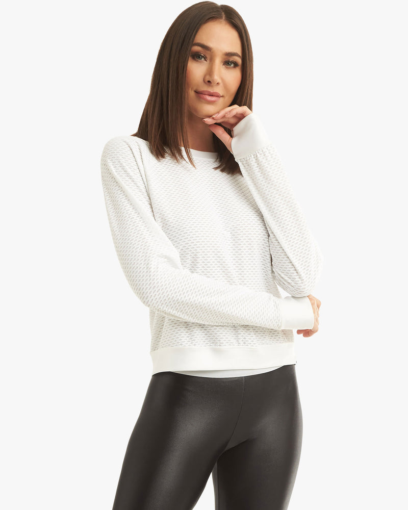 Front View of Model Wearing Sofia Pullover White
