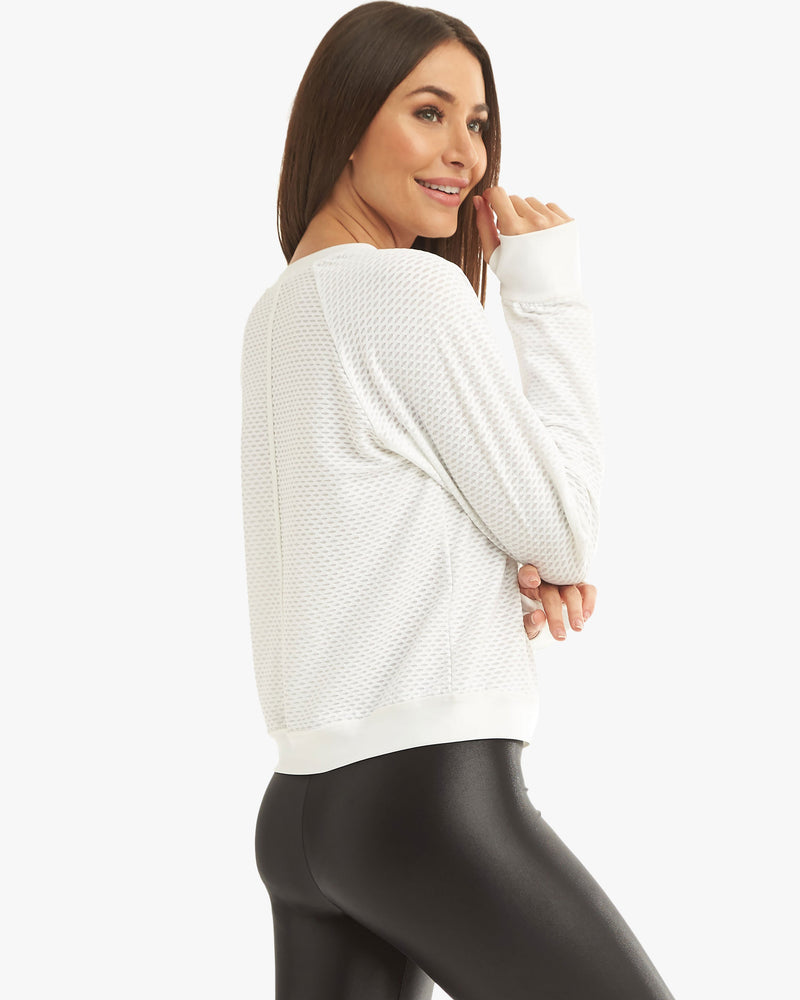 Side View of Model Wearing Sofia Pullover White
