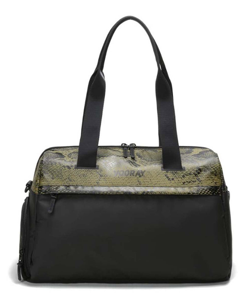 Front view of olive snakeskin trainer duffel bag