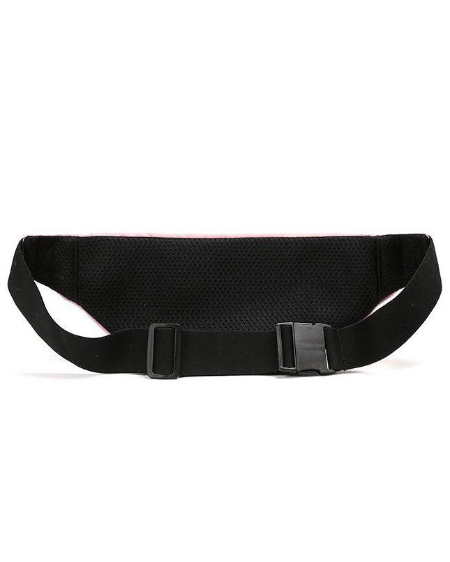 Back view of pink blush active fanny pack showing elastic belt