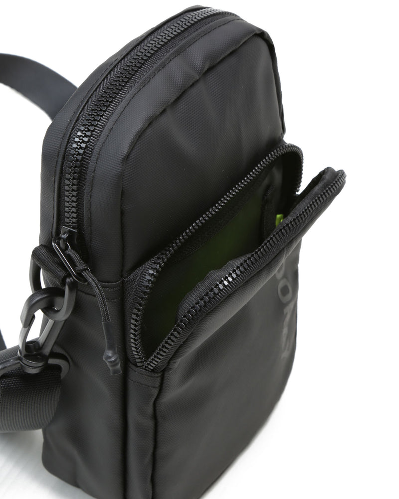 Front zip opened on matte black core crossbody bag