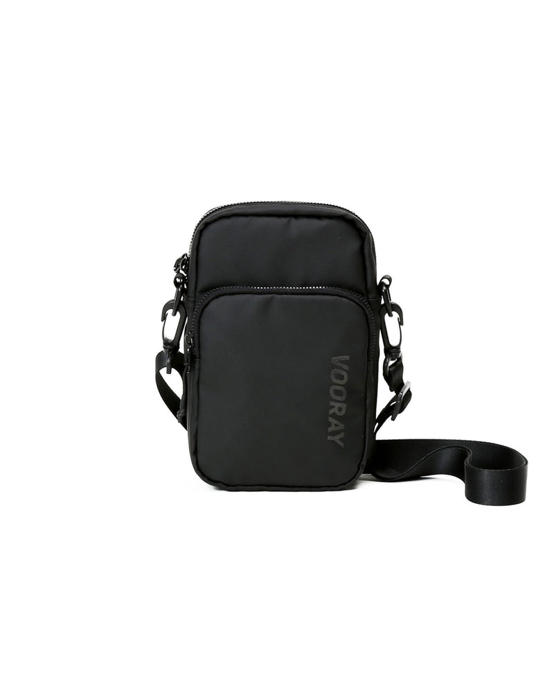 Front view of matte black core crossbody bag