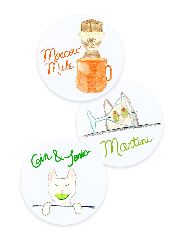 Moscow Mule, Martini, Gin and Tonic Cat Coasters