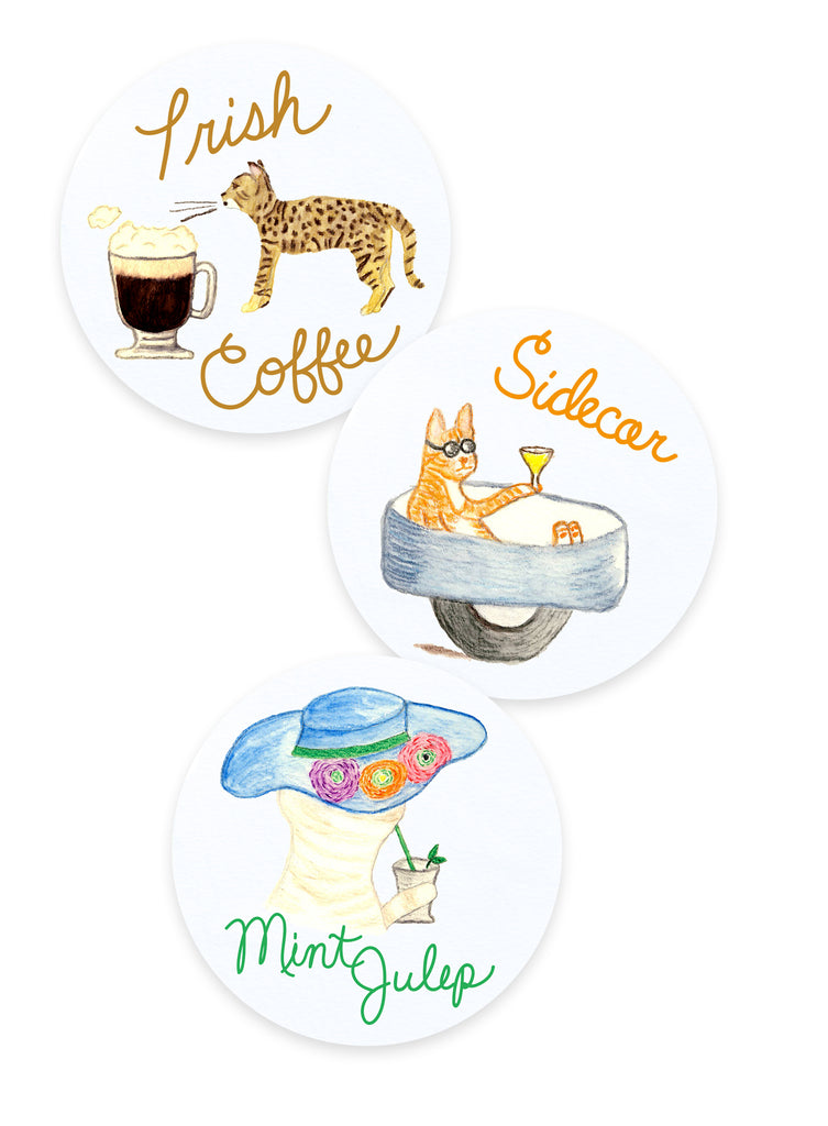 Irish Coffee, Sidecar, Mint Julep Cat Coasters