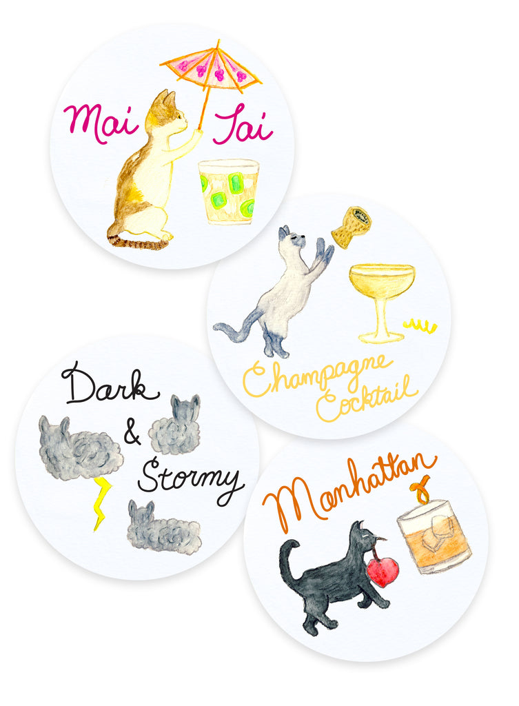 Mai Tai, Champagne Cocktail, Dark and Stormy, Manhattan Cocktail Cat Coasters