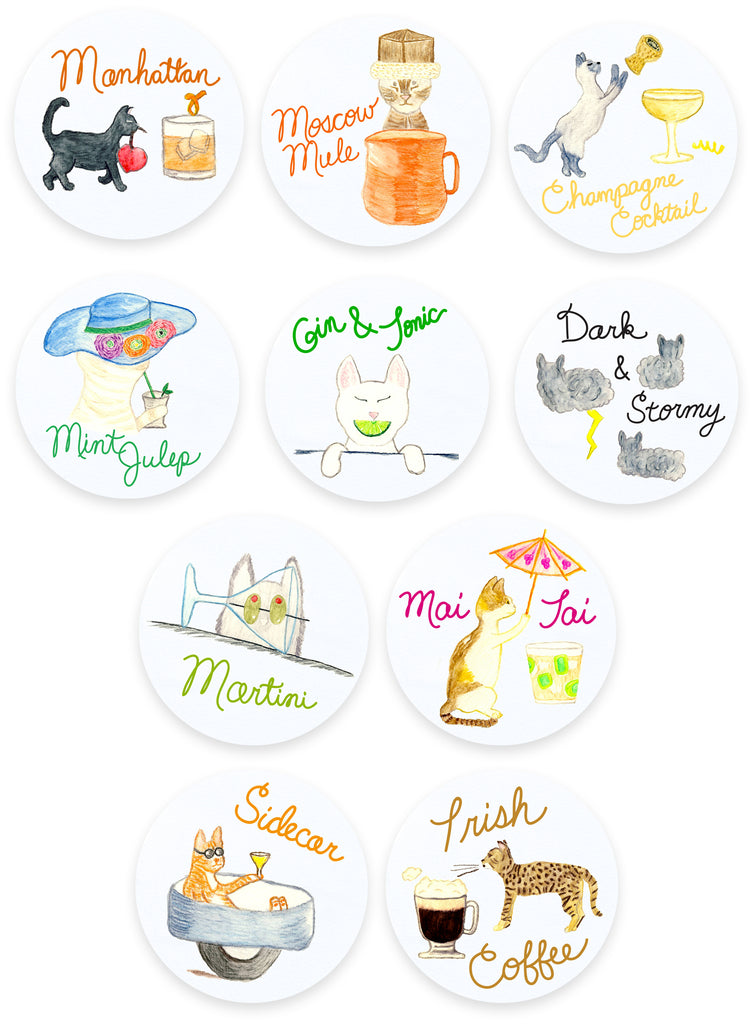 Cats and Cocktails Coasters