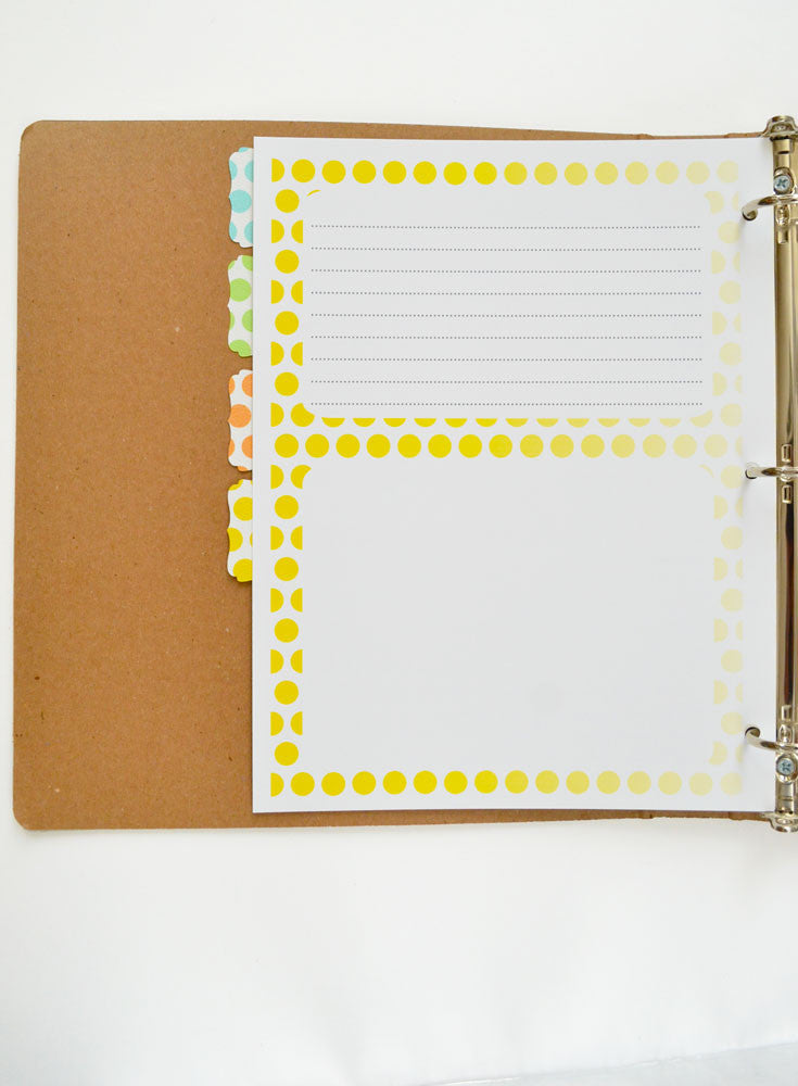 Recipe Binder Dots Tabs and Cards