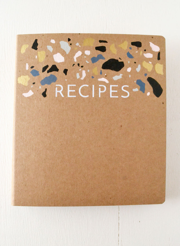 Recipe Binder Terrazzo Tile Inspired Cover and Cards