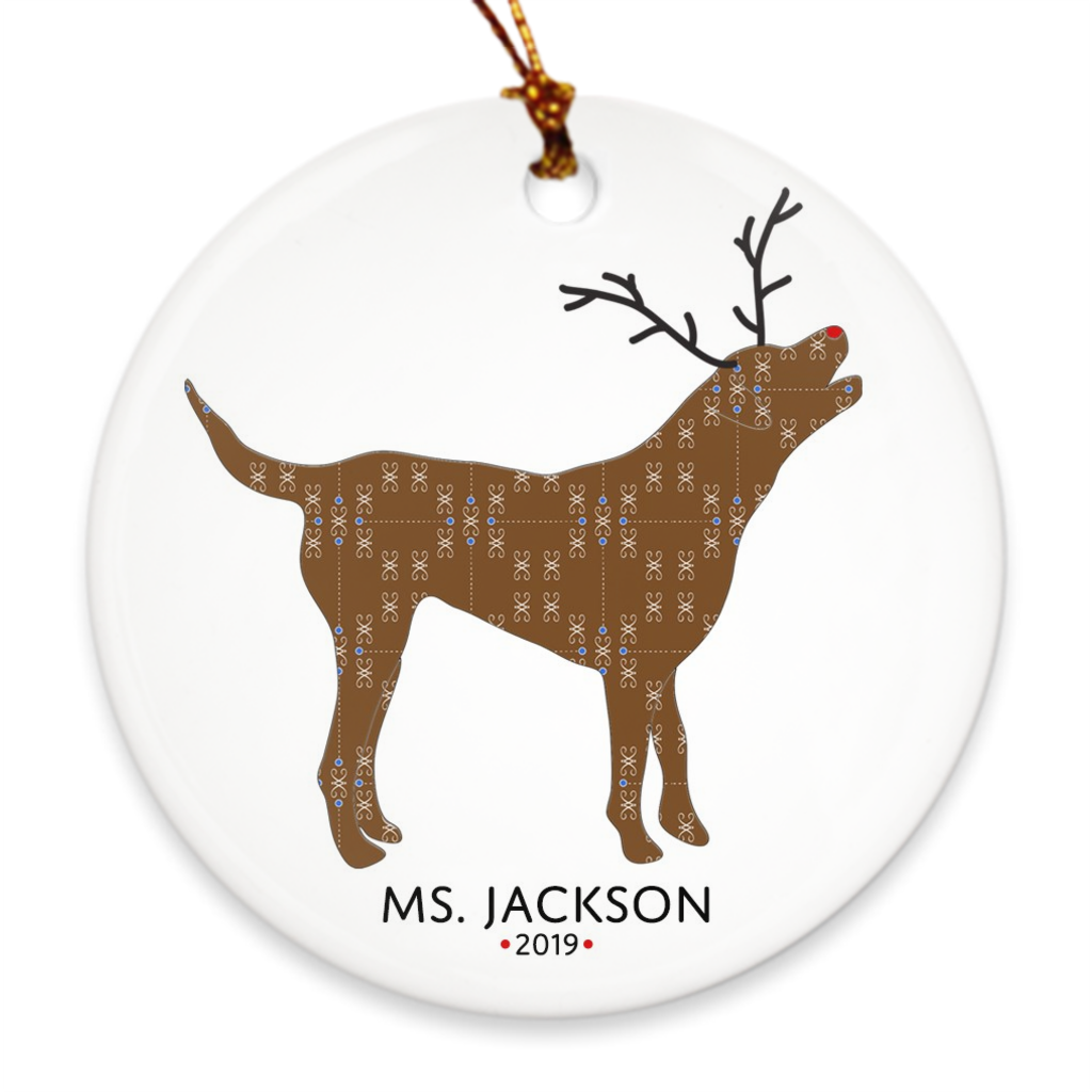 Chocolate Lab or Chessie Reindeer Ornament