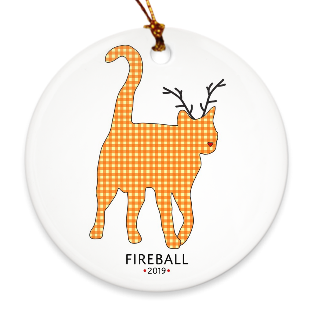Orange Cat Reindeer Ornament