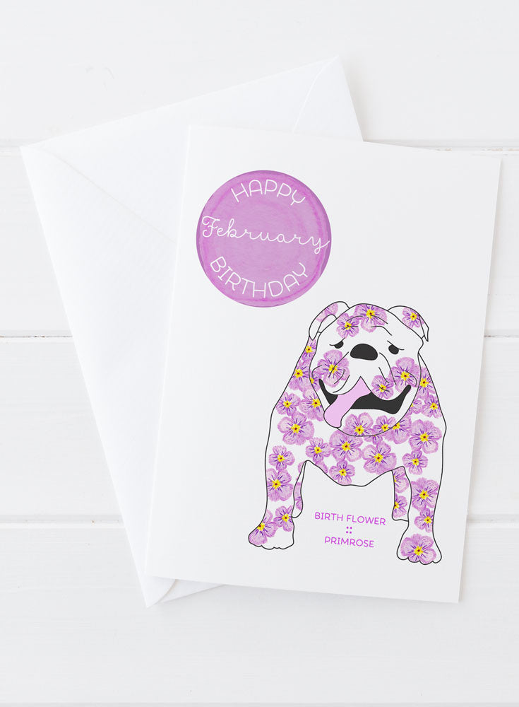 February Birthday - Birth Flower Dog Greeting Card