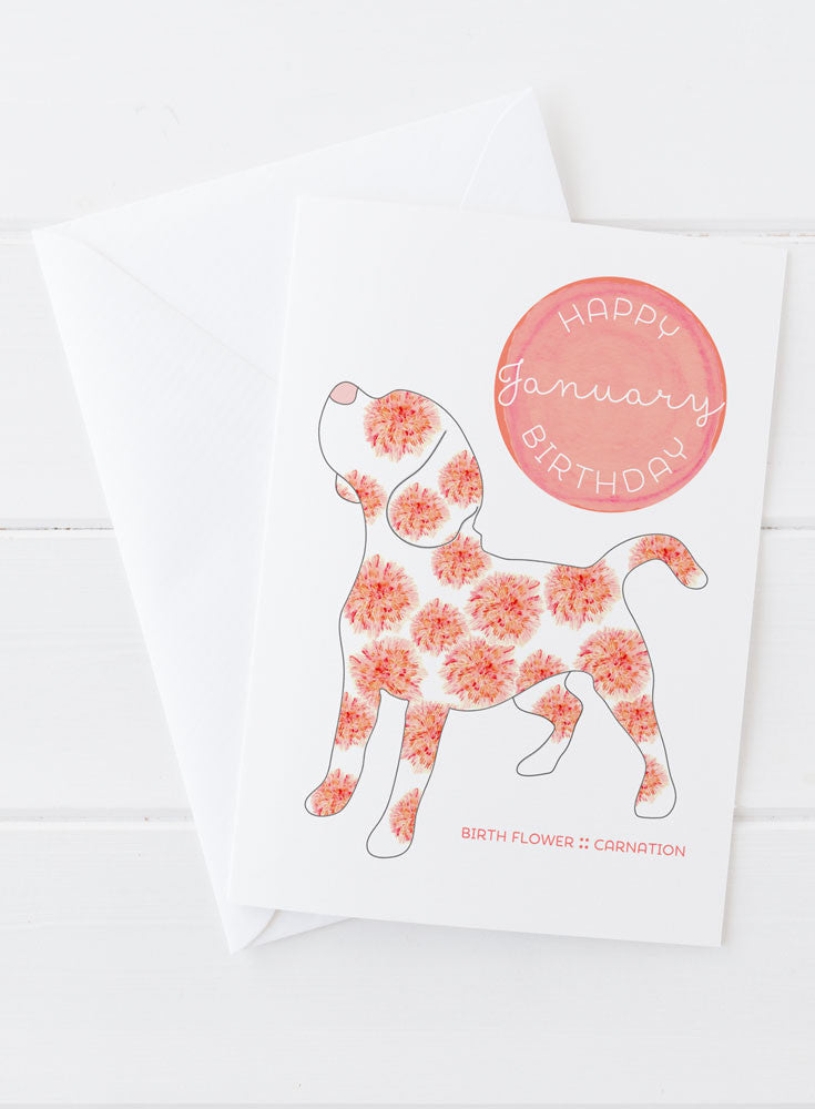 January Birthday - Birth Flower Dog Greeting Card