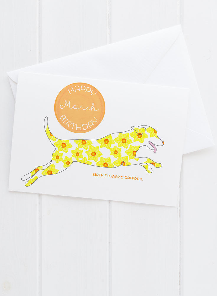 March Birthday - Birth Flower Dog Greeting Card