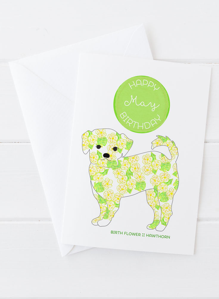 May Birthday - Birth Flower Dog Greeting Card