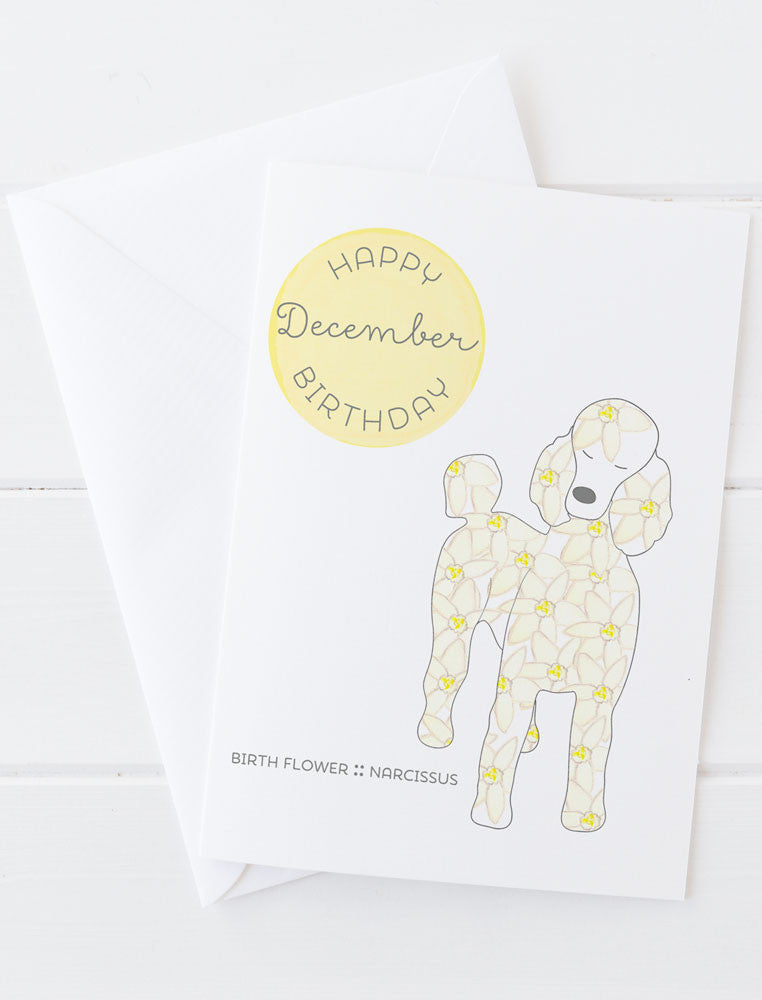 December Birthday - Birth Flower Dog Greeting Card