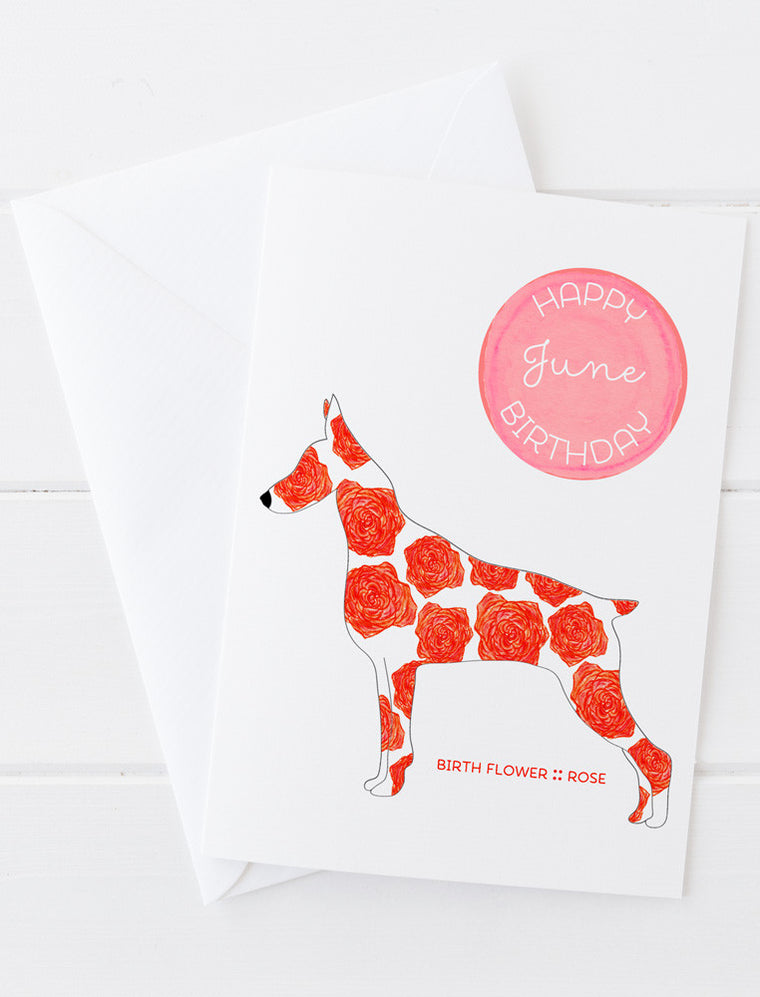 June Birthday - Birth Flower Dog Greeting Card