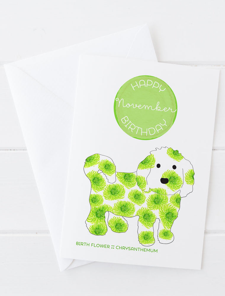 November Birthday - Birth Flower Dog Greeting Card