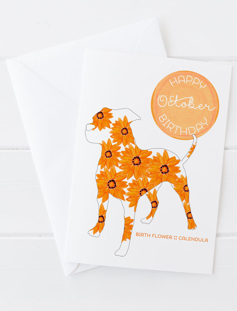 October Birthday - Birth Flower Dog Greeting Card