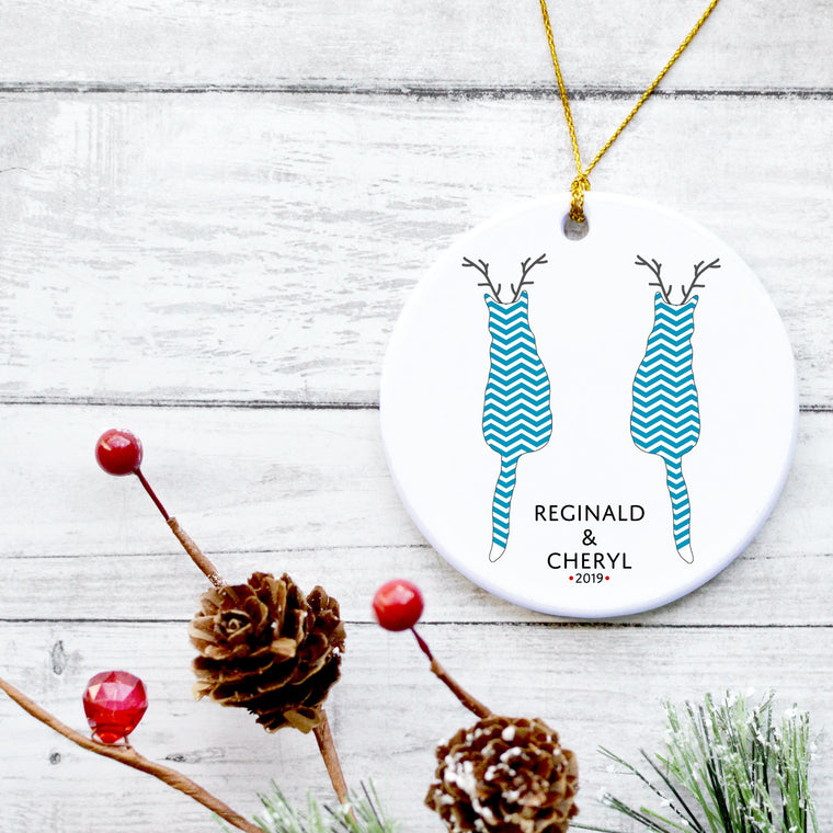 Two Cats Reindeer Ornament