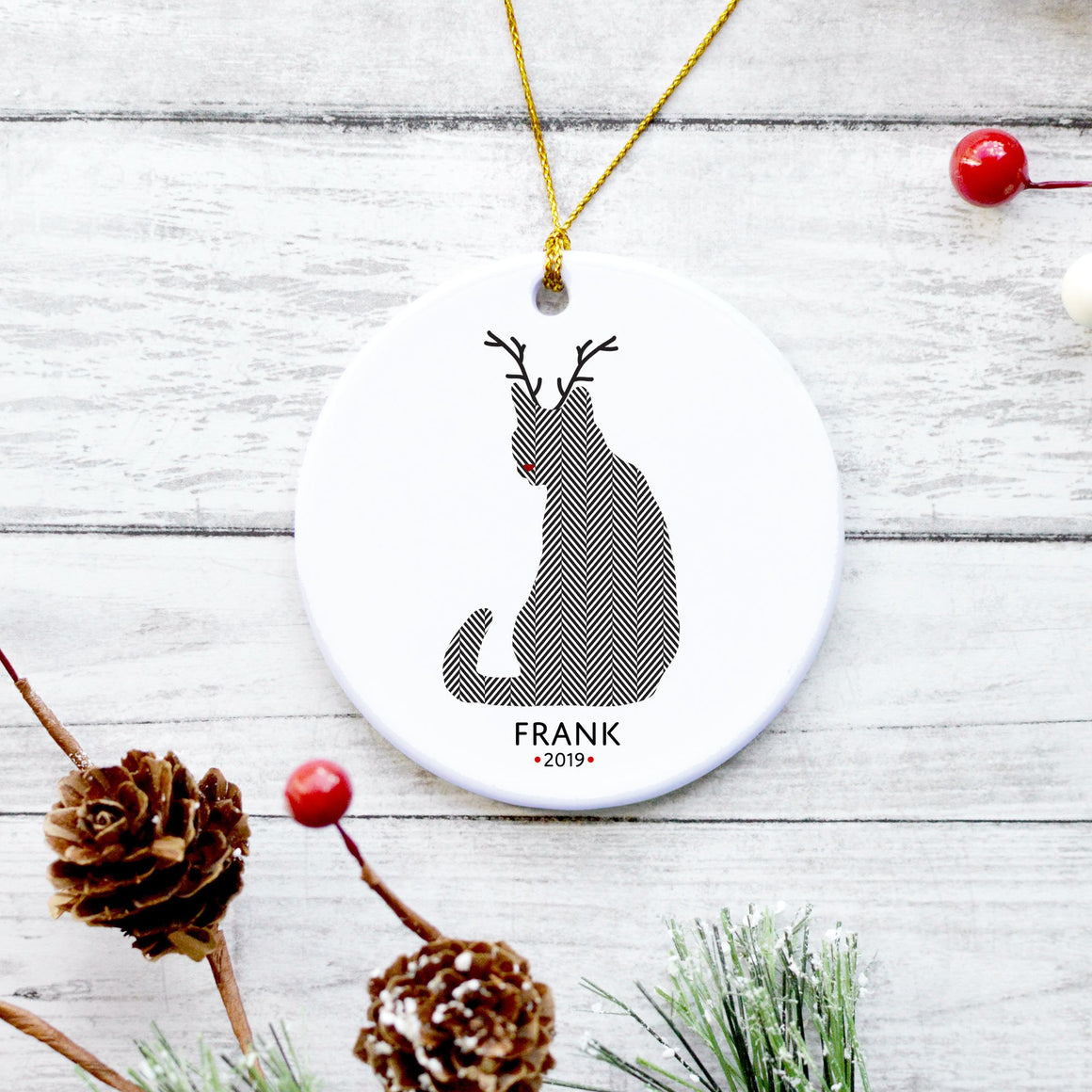 Black Cat Reindeer Ornament