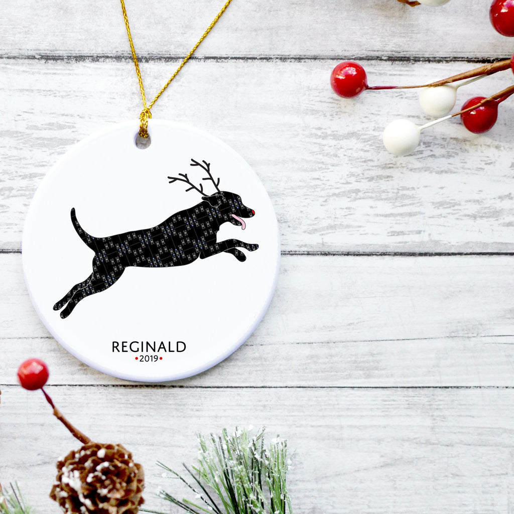 Black Lab Reindeer Ornament