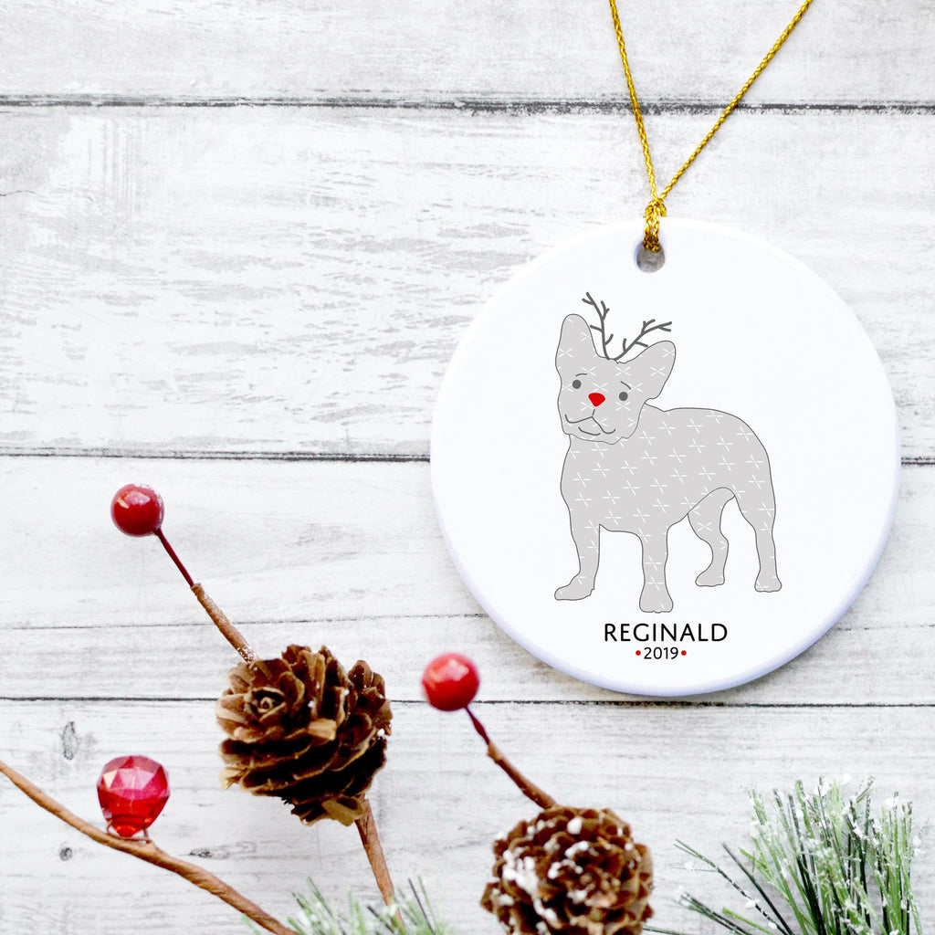 French Bulldog Reindeer Ornament