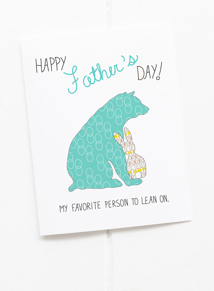 Father's Day Card with Papa Bear and Bunny