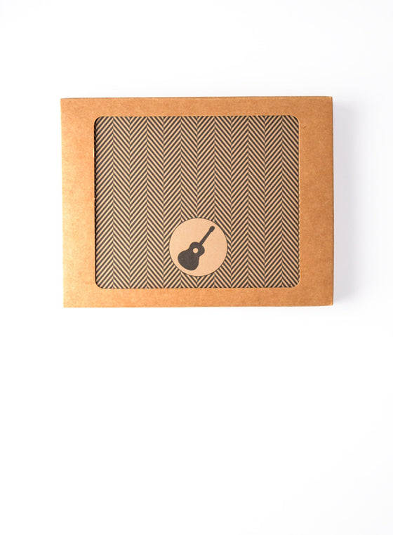 Herringbone Pattern with Guitar Icon Custom Boxed Notes