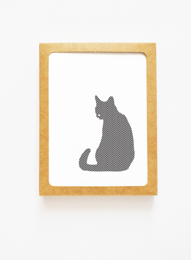 Herringbone Cat Boxed Notes