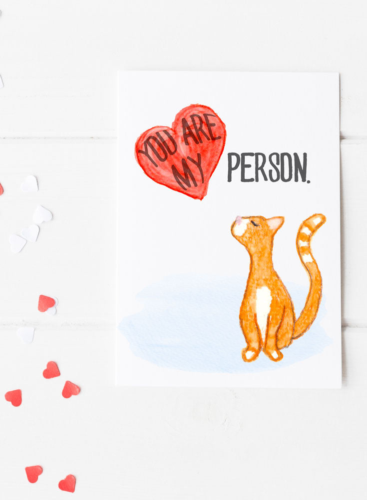 You are My Person Card Cat