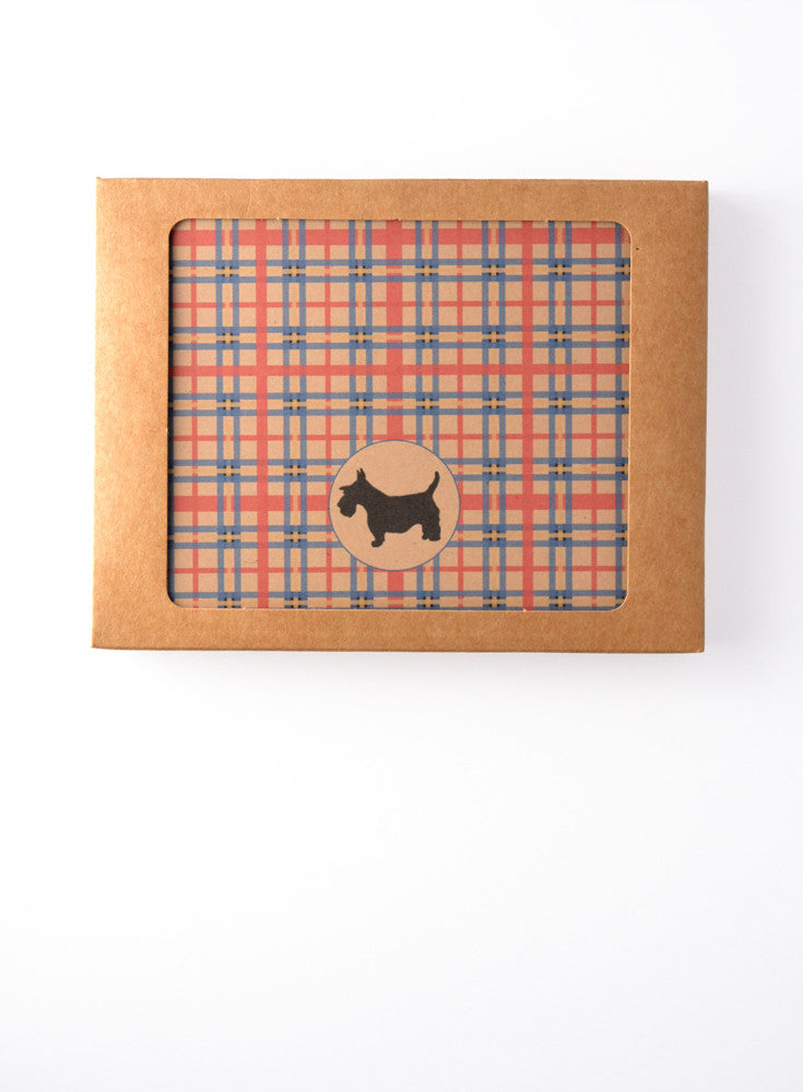 Tartan Pattern with Scotty Icon Boxed Notes