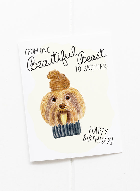 Beautiful Beast Cat Birthday Card Riverdogprints