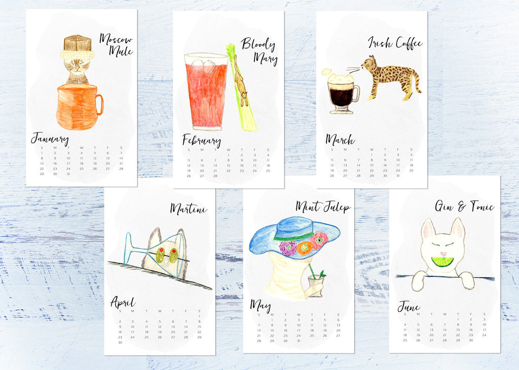 SALE 50% OFF!  2017 Cat Desk Calendar 12 Months of Cats and Cocktails - Clipboard Wall Calendar