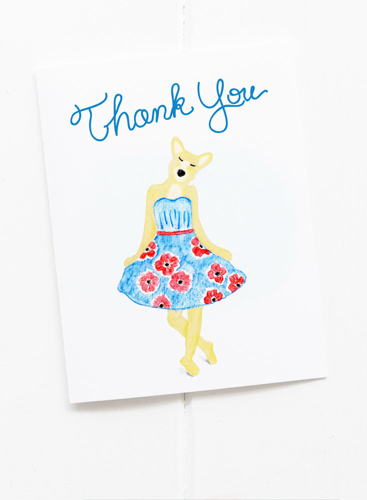 Curtsy Dog Thank You Greeting Card