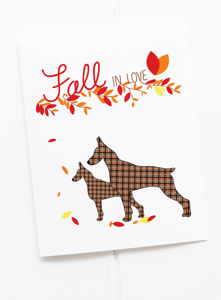 Fall in Love Dog Greeting Card