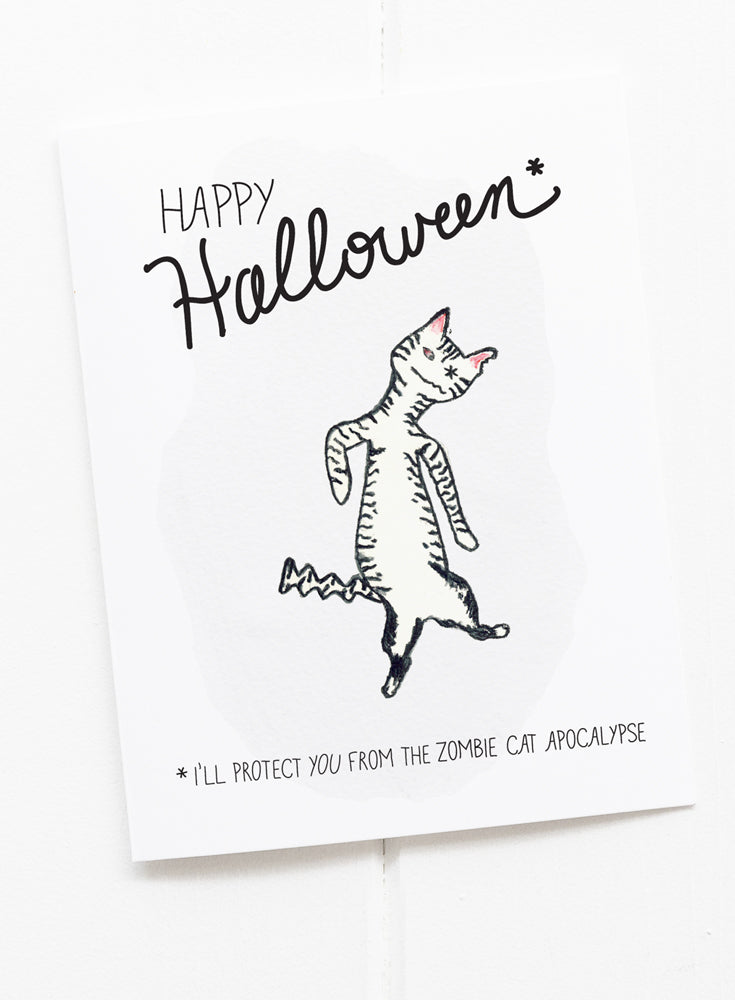 Halloween Cat Zombie Apocalypse Greeting Card