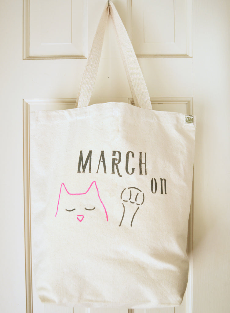 March On Cat Tote - Recycled Canvas Bag